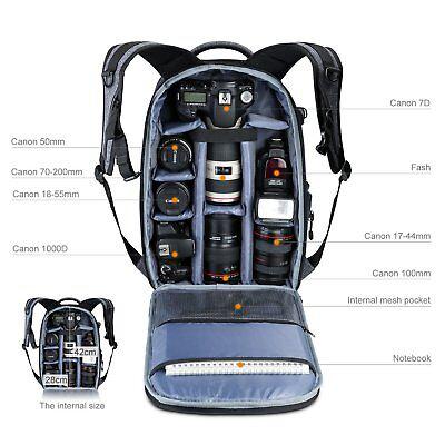 Large Camera Photo Backpack Bag w/ Tripod Holder Rain Cover r DSLR Canon Sony
