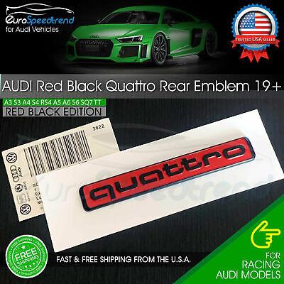Audi Quattro Emblem Red Black Rear Liftgate Trunk Badge OEM A3 A4 A5 A6 Q5 2019+