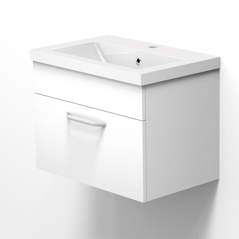 Waschtisch mit Unterschrank 60 cm Badmöbel Set Waschbecken Hängeschrank Badset