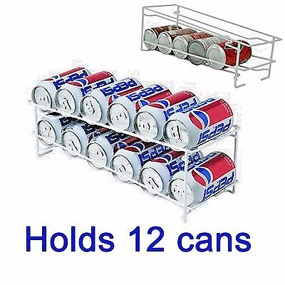 Soda Can Beverage Dispenser Rack Holds 12 Cans Holder Kitchen Storage Organizer
