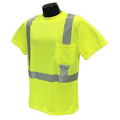 Radians ST11-2PGS Lime Green Class 2 Hi-Viz T-Shirts W/Maxi-Dri Wicking Mesh