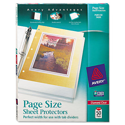 Avery Top-load Poly 3-hole Punched Sheet Protectors Letter Diamond Clear 50box