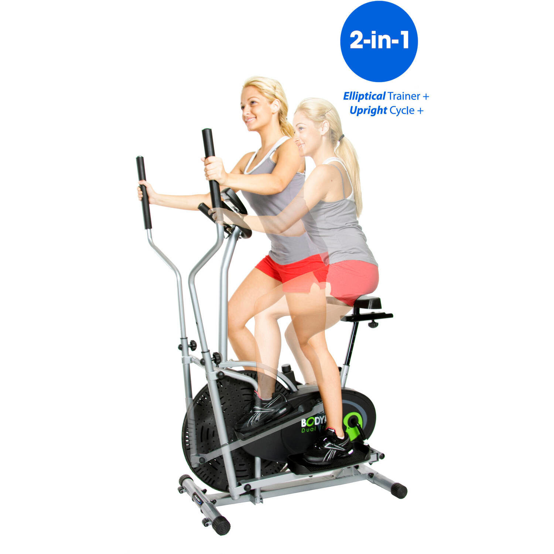 Dual Cardio Trainer Exercise Bike Elliptical Fitness Machine