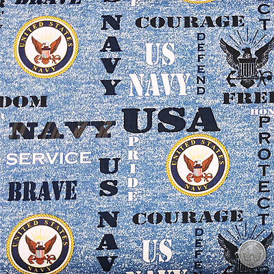 US Navy Heather Blue Print Military 100% Cotton Fabric by the Yard