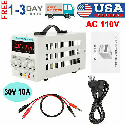 New 30v 10a Variable Regulated Digital Dc Power Supply Adjustable 110v