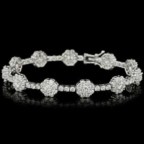 10.00Ct Round Diamond Cluster Flower Tennis Bracelet Solid 14k White Gold Finish