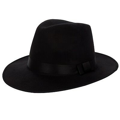 aeddddb7d0a32 Black Vintage Men Women Wool Felt Wide Brim Bowknot Fedora Trilby Panama Hat  Cap