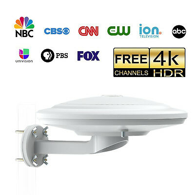 2018 Waterproof 360° Reception Amplified Outdoor HDTV Antenna 100Mile VHF / UHF