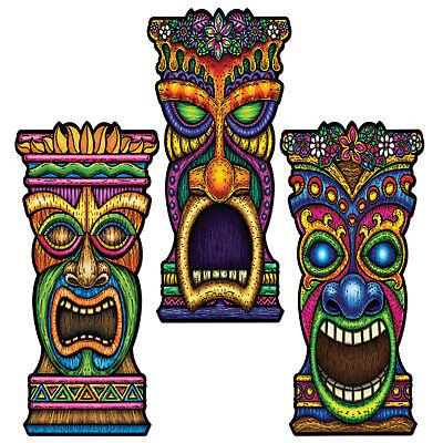 "3 TIKI cutouts 22""  LUAU BEACH TROPICAL POOL PARTY Tribal Ha"
