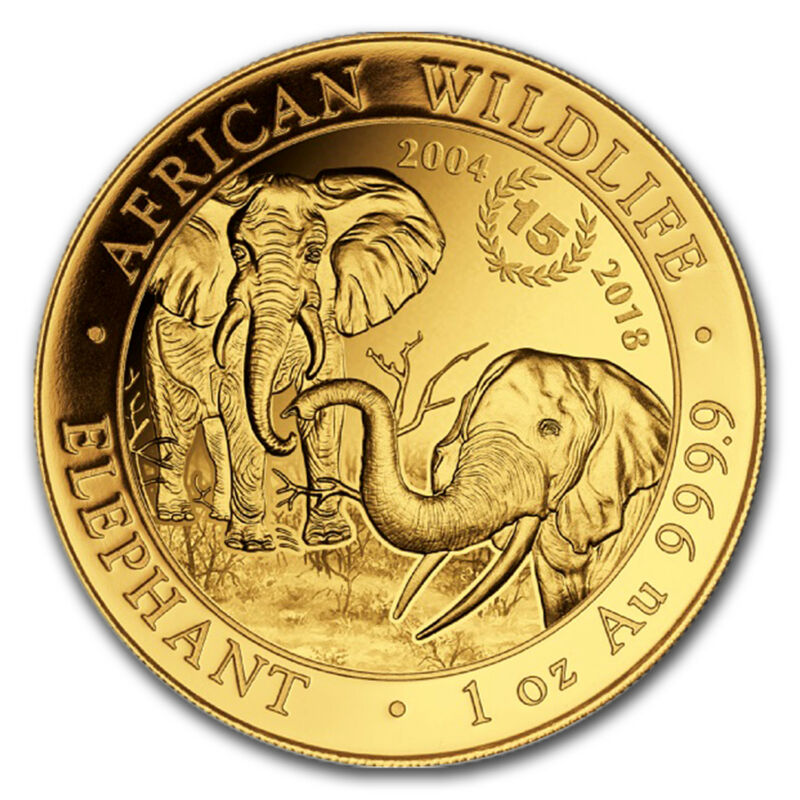 2018 Somalia 1 Oz Gold Elephant 15th Anniversary Jubilee Bu - Sku#162699