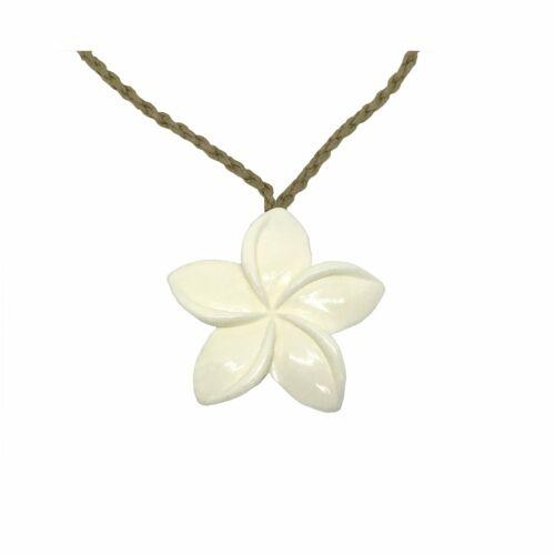 Hawaiian Jewelry Hand Carved Buffalo Bone Plumeria Flower Pendant from Hawaii