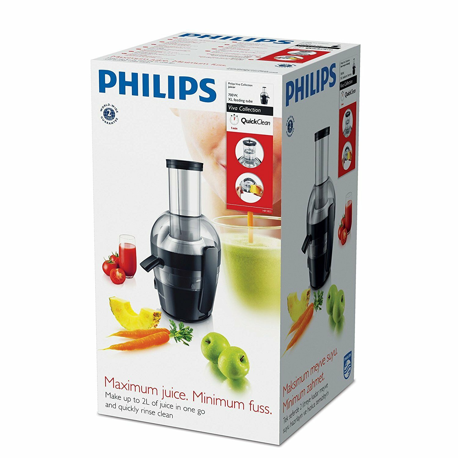 Details about Philips Viva Collection Hr1852 Juicer Black Pre Clean Functions 2L 800W