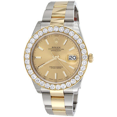 Mens 126333 Rolex DateJust 41mm Two Tone Diamond Watch Champagne Stick Dial 5 CT