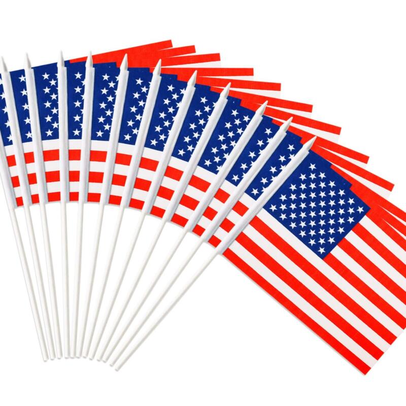 12PC Anley Usa Stick Flag American Us 5X8 Inch Handheld Mini