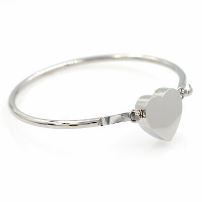 Heart Urn Bangle Bracelet - Cremation Jewelry, Stainless Steel Urn for Ashes