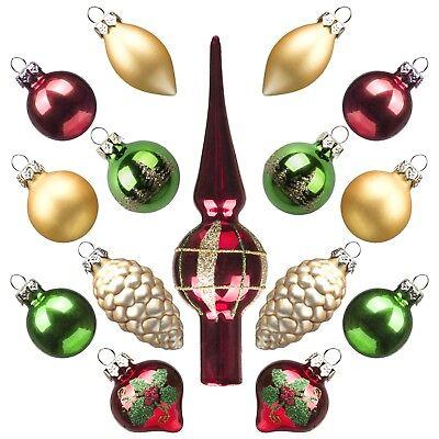 15 Addobbi Natalizi in Vetro Palle Pigne Puntale Rosso Dorato x Albero di Natale