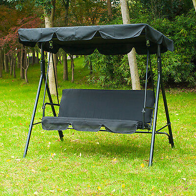 Patio Swing Chair 3 Person Outdoor Garden Hammock Canopy Awning Bench Seat Black
