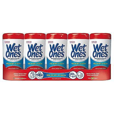 Wet Ones Antibacterial Fresh Scent Hand Wipes Cleaner Kill 99.9% of Germs - 5 pk