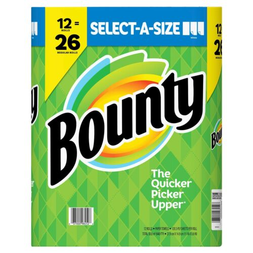 Bounty Select-A-Size Paper Towels, White 12 rolls