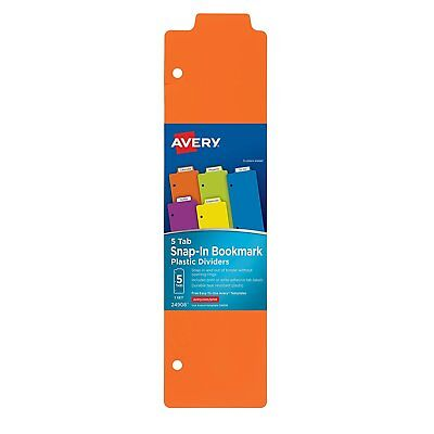 Avery Snap-in Plastic Bookmark Dividers 5 Tabs 1 Set Multicolor 24908