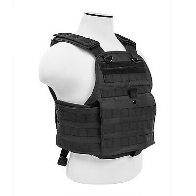 NcStar BLACK Police Military Tactical MOLLE / PALs Adj Plate Carrier Vest