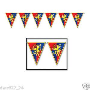 MEDIEVAL Renaissance Party Decoration Knight Castle CREST Pennant FLAG BANNER