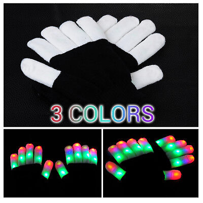 Bunte LED Handschuhe Leuchtenden Coole Spielzeuge Gloves Party Halloween Club DE ()