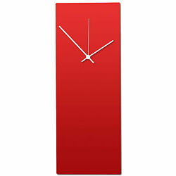 Redout White Clock | Modern Metal Wall Clock, Minimalist Red & White