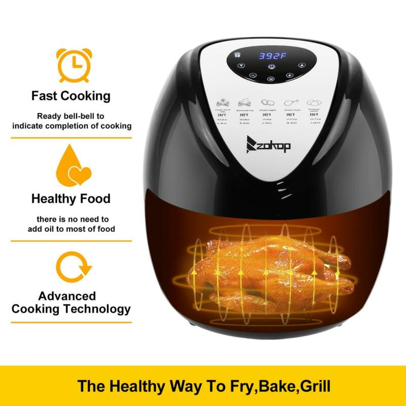 6.8QT Large Capacity Air Fryer W/ LCD Screen and Non-Stick Coating 1800W Black