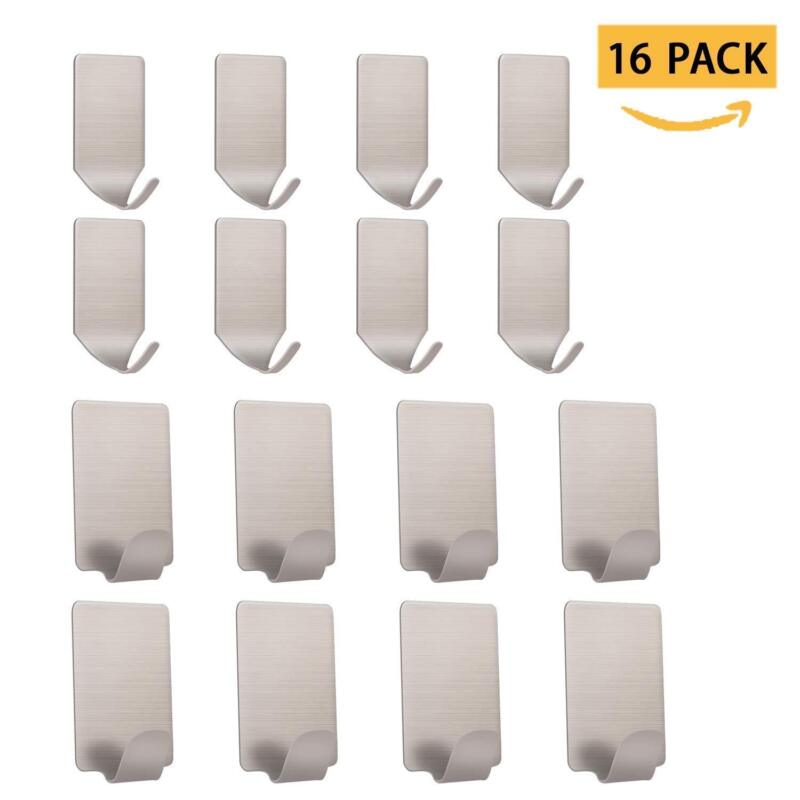 16pc Self Adhesive Wall Hooks,Sticky Stainless Steel Bathroo