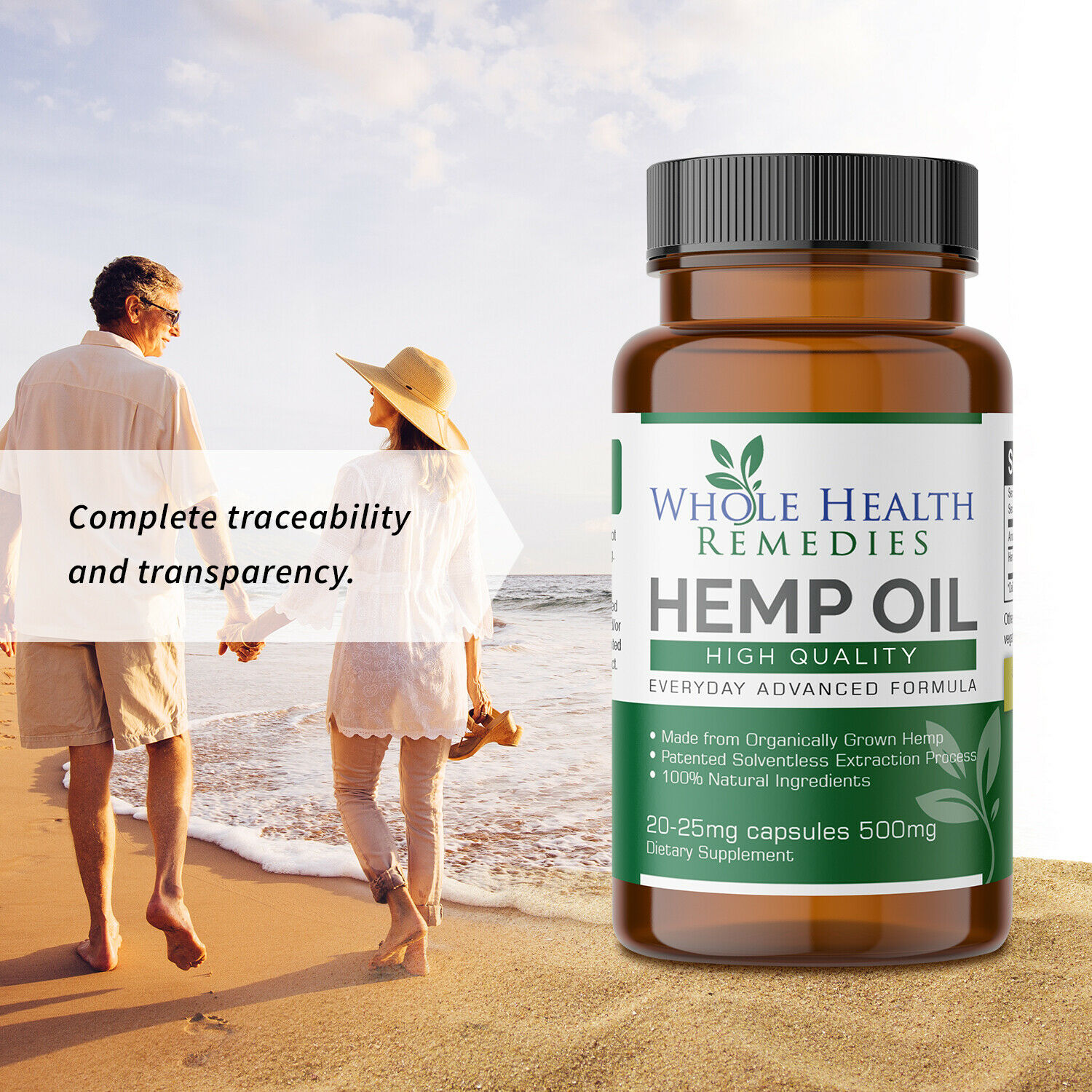 100% Pure Hemp Oil Capsules for Sleep-Aid, Anxiety & Pain Relief & Stress Relief 1