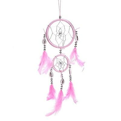 "12"" Traditional Pink Dream Catcher with Feathers Wall or Car Hanging Ornament..."