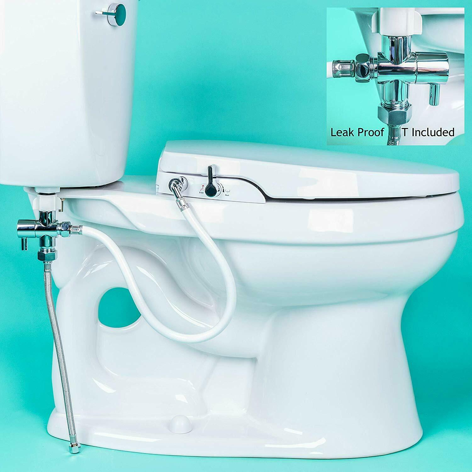 GenieBidet Seat - Self Cleaning Dual Nozzles. Rear & Feminin