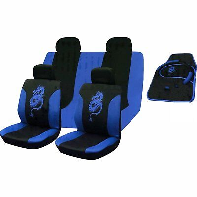 13 Piece Blue Tribal Dragon Front Rear Seat Covers Seat Belt Harness pads