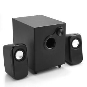 PC, laptop speakers and subwoofer