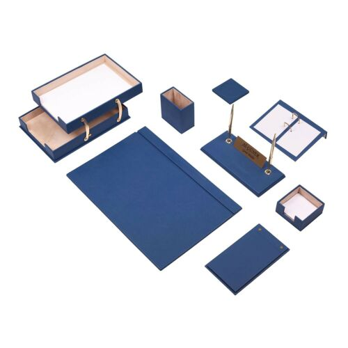 Leather Desk Set 10 Pieces with Double Document Tray Desk Organizer Blue
