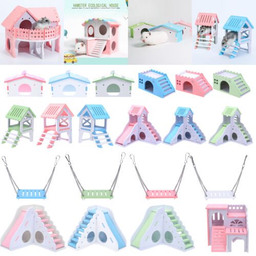 Wood Guinea Pig Hamster Hammock Bed Nest Double-Deck Villa House Cage Toys Gifts