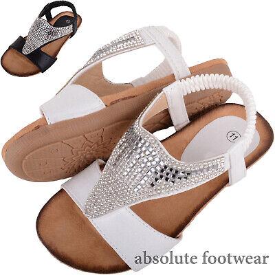 Childrens / Kids / Girls Slip On Holiday / Summer Diamante Sandals / Shoes ()
