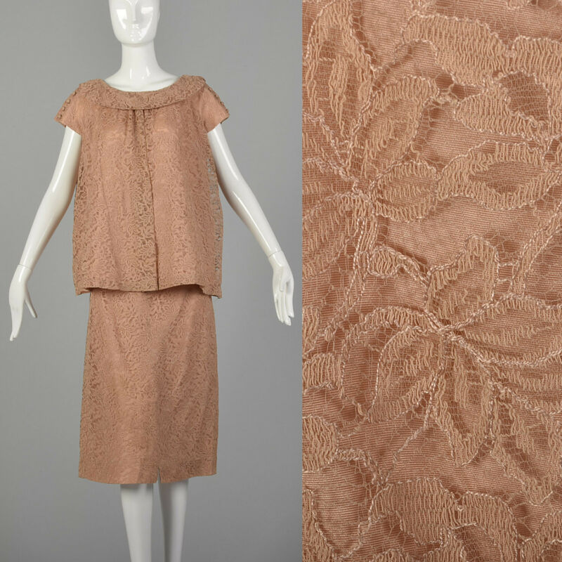 L 1960s Pink Skirt Set Matching Lace Overlay Top Blush Maternity 2 Piece 60s VTG
