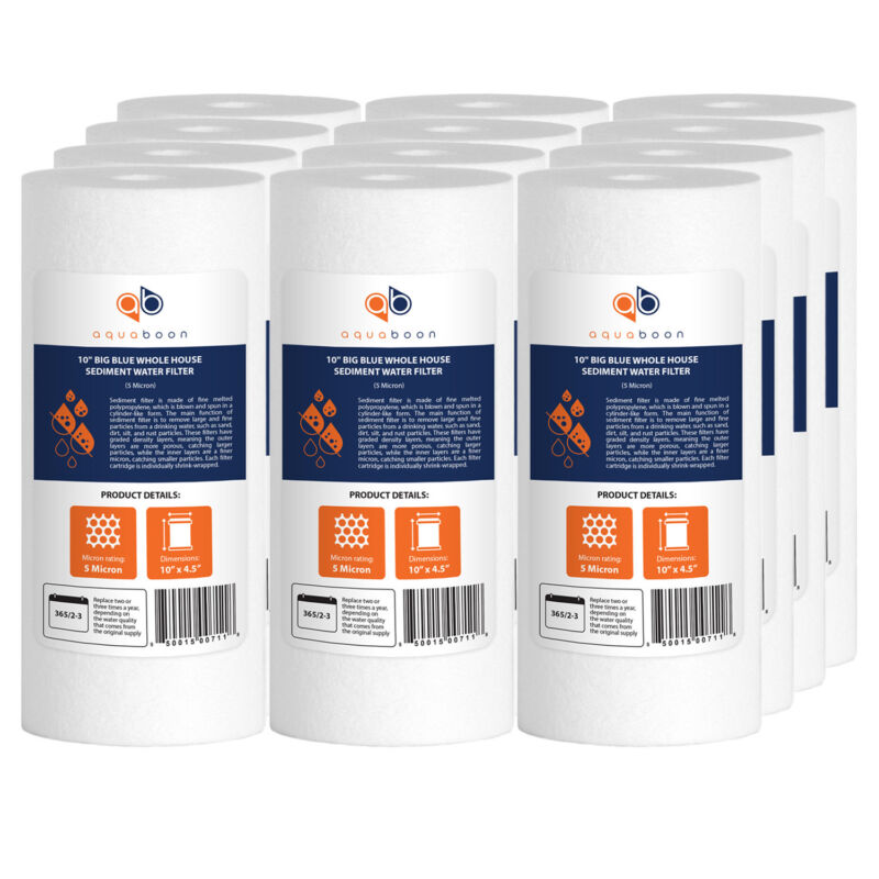 """12-pack Of Aquaboon Sediment Water Filter Whole House Big Blue 5 Micron 10""""x4.5"""""""
