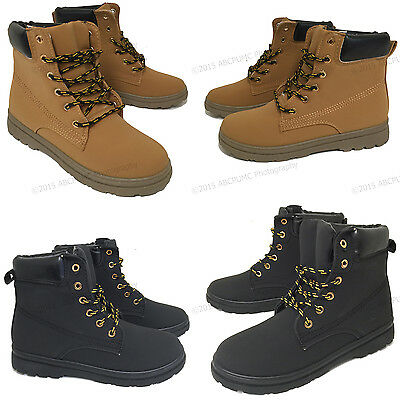 NIB Womens Boots Fashion Fur Lace Up Padded Ankle Hiking Combat Work Shoes Sizes