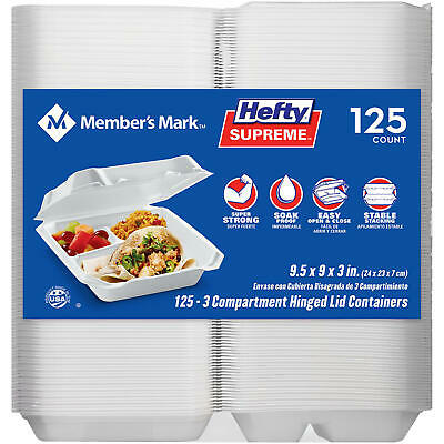 Members Mark 3-compartment Foam Hinged Lid Container 125 Ct. By Hefty