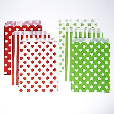 48 Polka Dot and Stripes Green and Red Food Candy Treat Party Favor Bags 5x7  (Red Treat Bags)