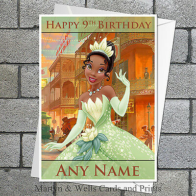 Tiana / Princess and the Frog birthday card: Personalised, with - Frog Birthday