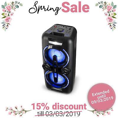 Cassa Bluetooth Speaker Altoparlante Portatile Wireless USB AUX 2x50w Microfono