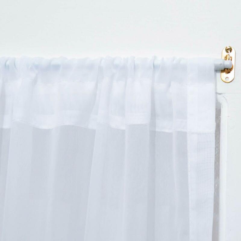 """RHF Voile French Door Curtains, Sheer White, 40"""" x 72"""" Set o"""