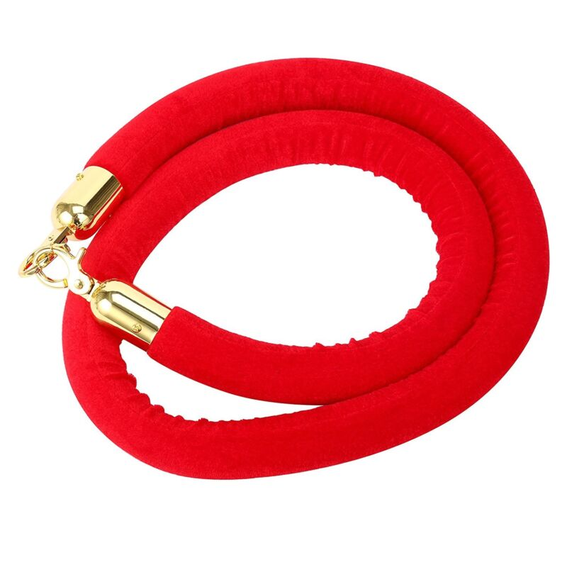 Velvet Rope Crowd Control Stanchion Post Queue Line Barrier-Red 59Inch Gold Hook