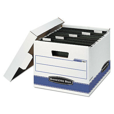 Bankers Box Hangnstor Storage Box Letter Lift-off Lid Whiteblue 4carton