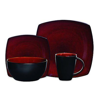 Beautiful Black And Red Dinnerware Set 16 Piece Round Square Plates Bowls Mugs