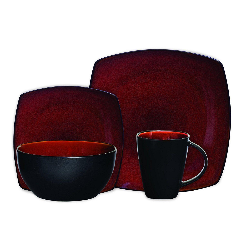 Beautiful Black And Red Dinnerware Set 16 Piece Round Square